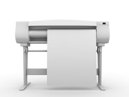 impresora: Trazador. Vista frontal. Equipos profesionales para la impresi�n digital. render 3D Foto de archivo
