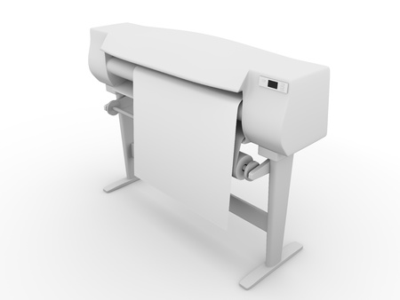printer drawing: Plotter. Large printer for digital printing. 3d render Stock Photo