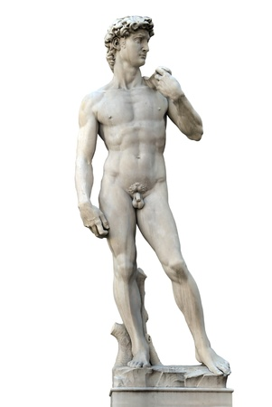naked statue: Statue of David isolated on white. Copy of Michelanegelos original. Firenze, Italy Stock Photo