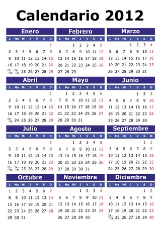 weekday: 2012 vector calendar in Spanish. Easy for edit and apply