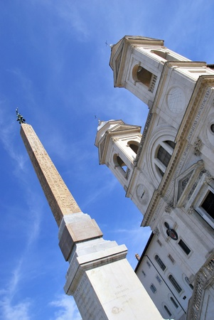 trinita: Trinita del Monti Church and obelisk in Rome. Piazza di Spagna. Italy.