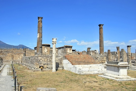 Temple of Apollo in Pompeii with an altar and a sundial. Italy. photo