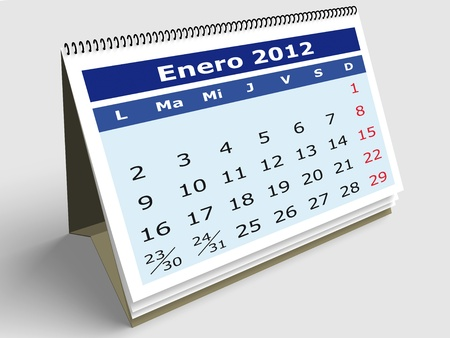 January month in Spanish. 2012 Calendar. 3d render photo