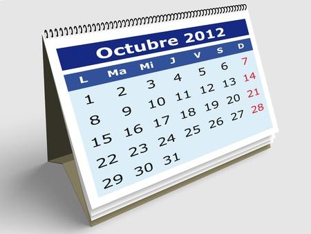 October month in Spanish. 2012 Calendar. 3d render photo