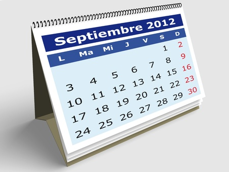 September month in Spanish. 2012 Calendar. 3d render photo