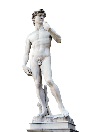 firenze: Statue of David isolated over white. Copy of Michelanegelos original. Piazza signoria. Florence, Italy