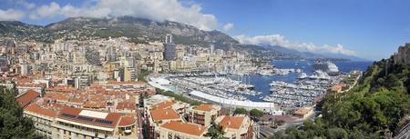 Panoramic view of Principality of Monaco. Luxury place in Europe. Blue Coast. Mediterranean sea. photo