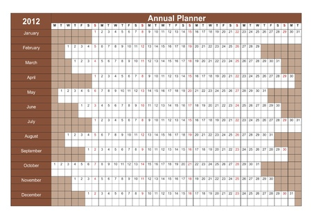 2012 English calendar. Annual Planner. Week starts on Monday Vector