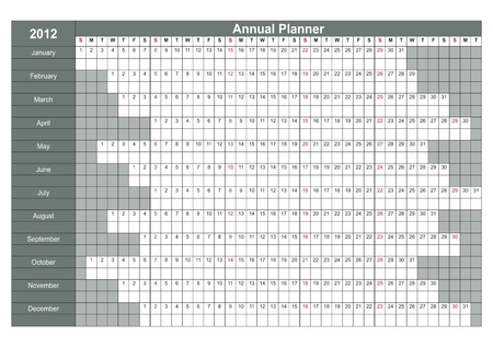 2012 English calendar. Annual Planner. Week starts on Sunday Vector