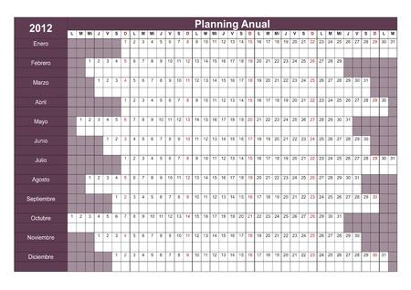 week planner: 2012 Spanish calendar. Annual Planner. Week starts on Monday