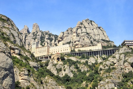 conglomeration: Panoramic view of Montserrat. Monastery and Church in Catalonia. Spain