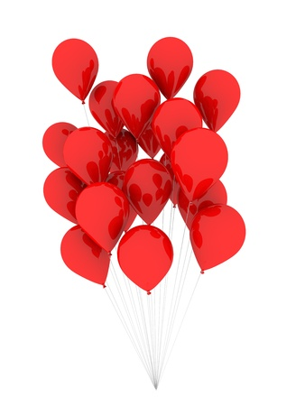 flying float: A bunch of red balloons floating. 3d illustration isolated over white Stock Photo