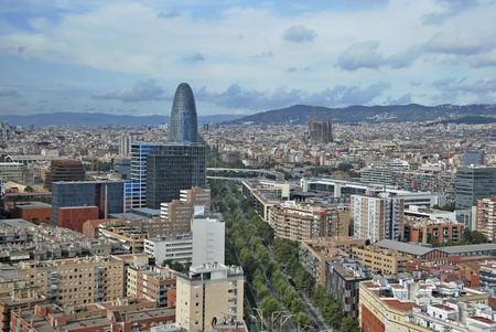 Skyline of Barcelona. Aerial view of diagonal avenue, Agbar building and Sacred Family. Barcelona. Spain