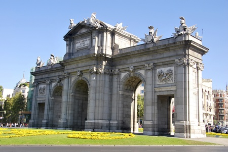 Puerta de Alcala. Alcala gate. Famous landmark in Madrid. Spain