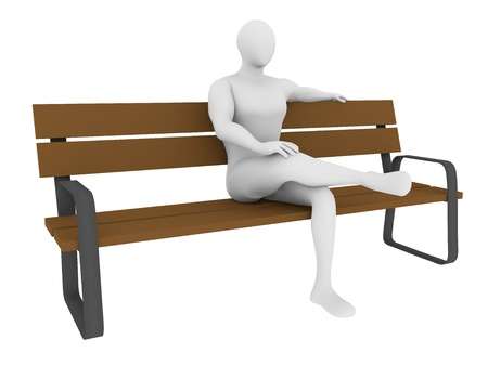 timber bench seat: A man sitting on a bench resting. 3d illustration Stock Photo