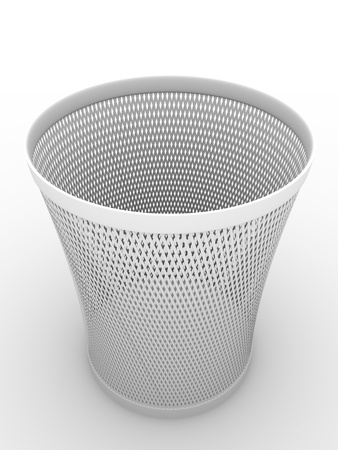 Paper bin in white. Container for crumpled paper. Illustration  illustration