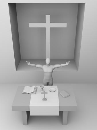 liturgy: A priest is celebrating a mass. Conceptual illustration Stock Photo