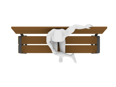 timber bench seat: Top view of a man sitting in a bench. 3d render