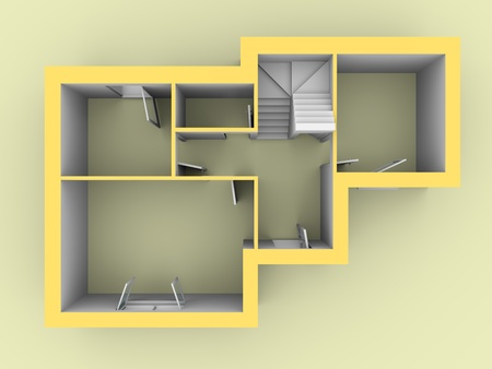 3d model of a house as seen from top view. Doors and windows are open photo