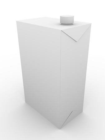 Milk packaging in white. 3d illustration in perspective illustration