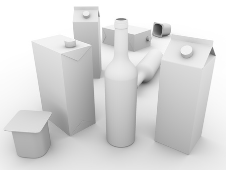 Some packaging models made of glass, cardboard and plastic . Concept of ecology and recycling photo