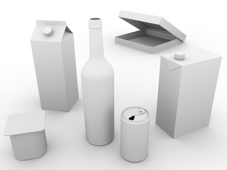 Some packaging models made of plastic, glass and cardboard. Concept of ecology and recycling photo