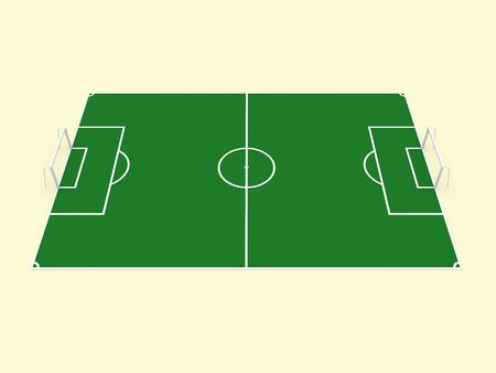 greenfield: 3d Illustration of a soccer playground. Green game field