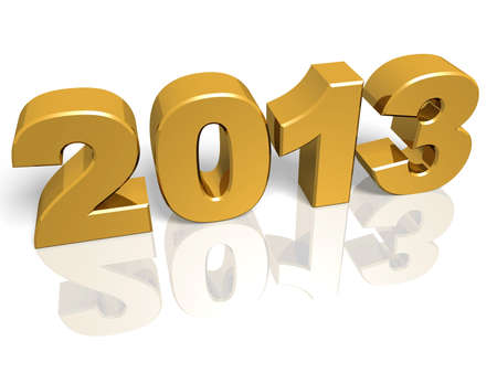 Golden New year 2013. 3d render. Very High resolution photo