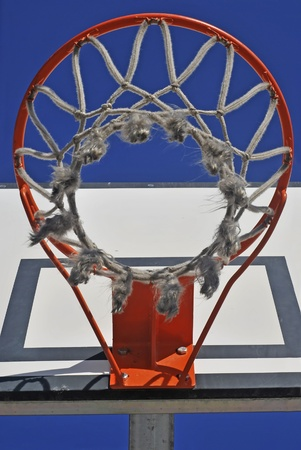 Basketball net as seen from a down viewpoint photo
