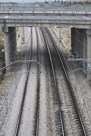 Train rails. Electrified infrastructure for travel and transport. Stock Photo - 11691918