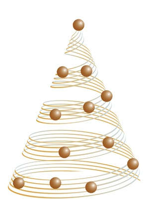 Golden christmas tree with some balls. Vector illustration