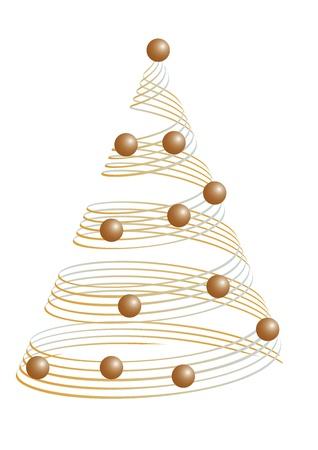goldy: Oro Albero di Natale con le palle. Vector illustration Vettoriali