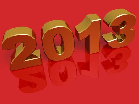New year 2013 in gold over a red background photo
