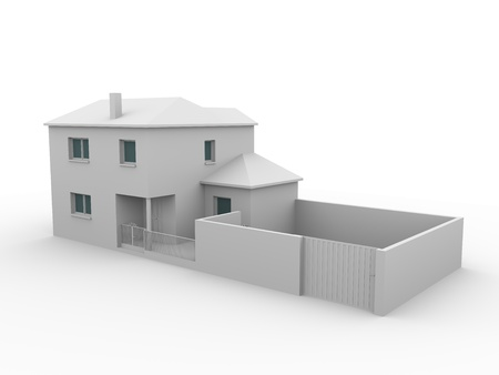 3d render of a house in white. Illustration illustration
