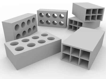 cement pile: Some bricks in white. Construction material. concept of masnory