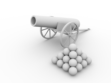 a cannon: Old fashioned cannon with projectiles. 3d ilustration Stock Photo