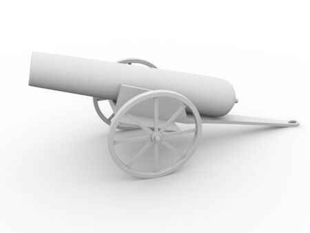 gunnery: 3d render of an old cannon in white. War concept Stock Photo