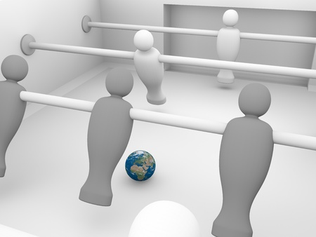 futbol soccer: foosball competition with the world as a ball. 3d render