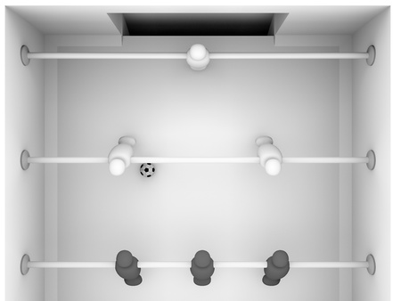 3d render of a foosball table with black and white players photo