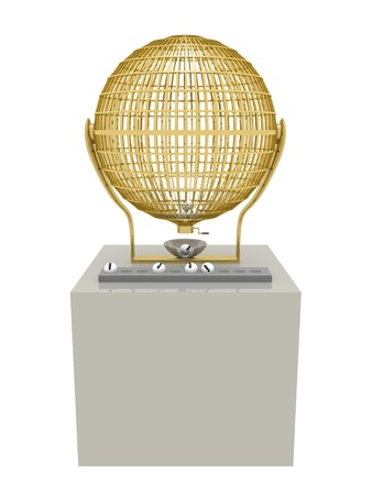 Golden Lottery cage with some balls. Fortune and luck concept. photo