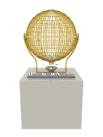 lottery: Gouden kooi Loterij met een aantal ballen. Fortuin en geluk concept. Stockfoto