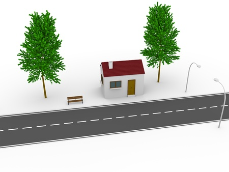 render residence: 3d illustration of a house near the road.