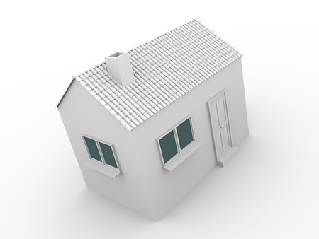 3d render of a little house in white. Real state and construction concept photo