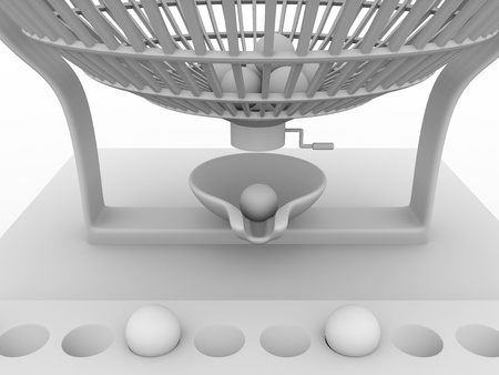 Lottery cage in white. Concept of leisure and luck photo