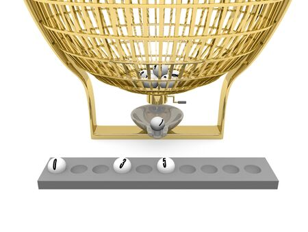 Golden Lottery cage with some balls. Leisure and luck concept. Bet and win photo