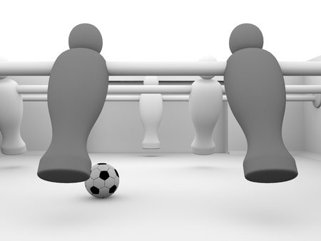 Detailed render of a foosball table with black and white players photo