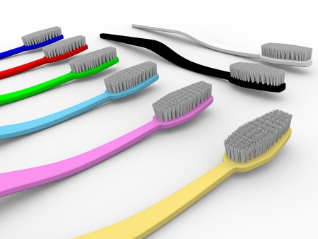 Group of toothbrushes in diverse colors. 3d illustration illustration