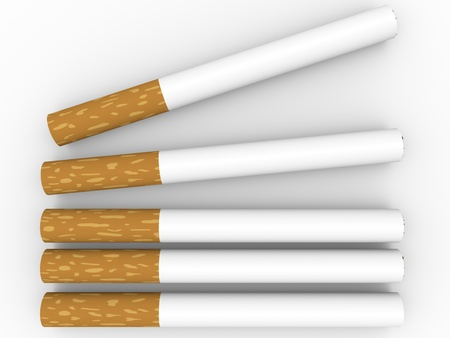 fag: Top view of five cigarettes. 3d ilustration Stock Photo