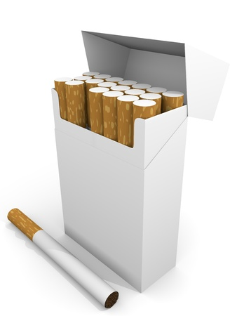 Open pack of cigarettes in white. 3d render photo