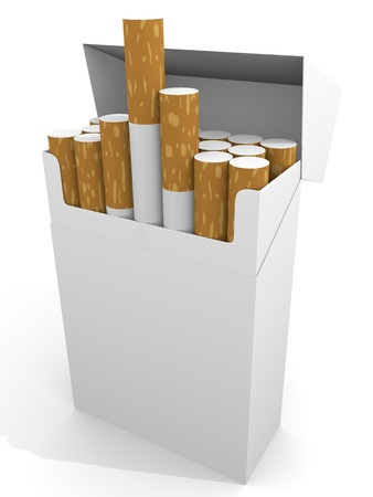 Open full pack of cigarettes in white. photo